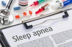 Apnea de sueño escrito en un tablero fotos de archivo