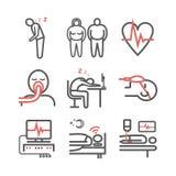 APNEA DE SUEÑO Síntomas, tratamiento Línea iconos fijados Muestras del vector para los gráficos del web ilustración del vector