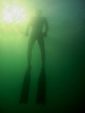 Free diver and sun Stock Photo