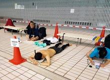Apneaförberedelse på Freediving 2018 Pan Pacific Championship Royaltyfri Bild