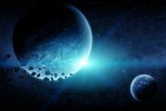 Apocalipse da explosão do planeta ilustração do vetor
