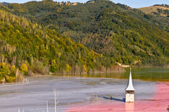 Apocalipse. Village under the lake with church royalty free stock photo