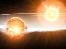 Apocalipsis de la explosión del planeta Imagen de archivo libre de regalías