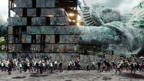 Apocalipsis del zombi en los E.E.U.U. zombis de la muchedumbre que caminan Animación realista 4K libre illustration