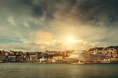 Apocaliptic sky ove the Port in Genova, Italy Stock Images