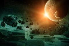 Apocalisse di esplosione del pianeta Fotografie Stock