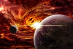 Apocalisse di esplosione del pianeta Immagine Stock
