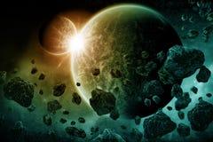 Apocalisse di esplosione del pianeta Immagini Stock