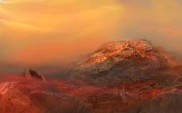 Apocalisse di fantasia Illustrazione di paesaggio fantastico del pianeta rosso Fotografia Stock