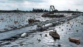 Apocalyps overzeese mening Vernietigde brug Armageddonconcept Super realistische 4K animatie stock footage