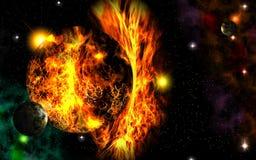 Apocalyps in ruimte vector illustratie