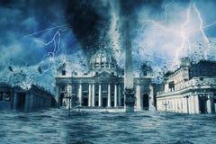 Apocalyps Vatikaan | Vernietigd royalty-vrije stock fotografie
