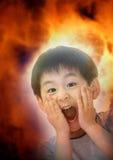Apocalypse. A boy shock on doomsday Stock Photo