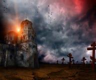 Apocalypse. Very scary and gloomy landscape apocalypse Royalty Free Stock Photo