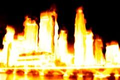 Apocalypse brûlante de ville photographie stock