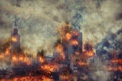 apocalypse Brennende Stadt, abstrakte Vision lizenzfreie stockfotos