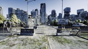 Apocalypse city. Aerial View of the destroyed city. Apocalypse concept. 3d rendering. stock photos