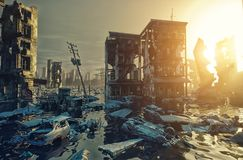 Apocalypse city. Apocalypse flooding city view sunset. 3d rendering concept Stock Photos