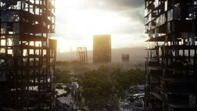 Apocalypse city in fog. Aerial View of the destroyed city. Apocalypse concept. Super realistic 4k animation.