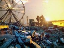 Apocalypse city landscape. Apocalypse landscape sunset. 3D rendering concept stock illustration