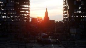 Apocalypse de la Russie Vue aérienne la ville détruite de Moscou Concept rendu 3d Photo libre de droits