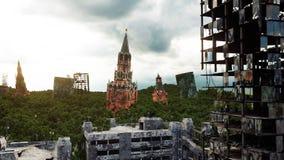 Apocalypse de la Russie Vue aérienne la ville détruite de Moscou Concept rendu 3d Images libres de droits
