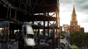 Apocalypse de la Russie Vue aérienne la ville détruite de Moscou Concept rendu 3d Photos libres de droits
