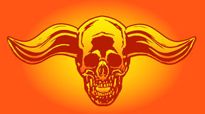 Apocalypse demon skull from hell with bullish horns. Vector illustration. Stock Photography