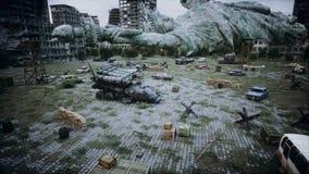 Apocalypse des Etats-Unis, Amérique Vue aérienne de la ville détruite Concept d'apocalypse rendu 3d illustration libre de droits