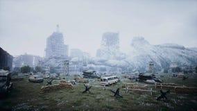 Apocalypse des Etats-Unis, Amérique Vue aérienne de la ville détruite Concept d'apocalypse rendu 3d illustration stock