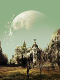 After apocalypse. Destructed city, invaded by weed, under a destructed Moon, after apocalypse Stock Image