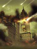 Apocalypse Devastation. View of Manhattan. The edifices have been destructed and the moon has exploded Stock Images