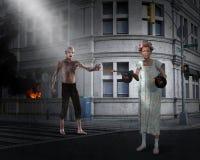 Apocalypse drôle, zombi, femme agée illustration de vecteur