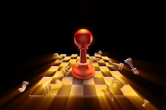 Apocalypse. The dramatic art of chess composition. Artistic dark background. Use shine (glow) effects. 3D-image Stock Photos