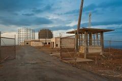 Apocalypse landscape. Military radar and barracks Royalty Free Stock Images