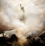 Apocalypse New York. A ruined car buried in debris with smoke rising and the Statue of Liberty appearing in the background. Concept for the apocalypse in New