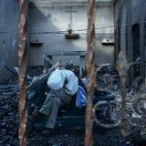 Apocalypse Now. Picture of man and debris during apocalyptic scenario Stock Photo