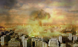 Apocalypse , nuclear bomb. Concept of vision apocaliptic world royalty free illustration