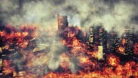 apocalypse Płonący miasto, abstrakcjonistyczny wzrok Fotografia Stock