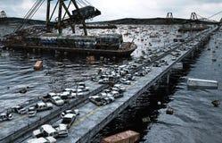 Apocalypse sea view. Destroyed bridge. Armageddon concept. 3d rendering. Stock Photos