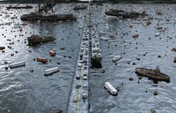 Apocalypse sea view. Destroyed bridge. Armageddon concept. 3d rendering. Stock Photography