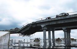 Apocalypse sea view. Destroyed bridge. Armageddon concept. 3d rendering. Royalty Free Stock Images