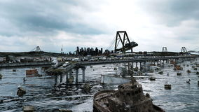 Apocalypse sea view. Destroyed bridge. Armageddon concept. Super realistic 4K animation.