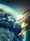 Apocalypse. Several meteors wrapped in flames as they approach   the Earth atmosphere Stock Images