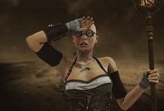 Apocalypse Steampunk woman Stock Images
