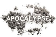 Apocalypse word in ash, dust, dirt royalty free stock images