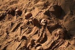 Apocalypsenkonzeptschädel und Knochen abstrarct Hintergrund Lizenzfreies Stockfoto