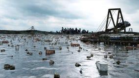 Apocalypsenseeansicht Zerstörte Brücke Armageddonkonzept Super realistische Animation 4K lizenzfreie abbildung