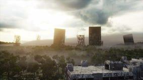 Apocalypsenstadt im Nebel Vogelperspektive der zerstörten Stadt Apocalypsenkonzept Super realistische Animation 4K