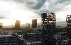 Apocalypsenstadt im Nebel Vogelperspektive der zerstörten Stadt Apocalypsenkonzept Wiedergabe 3d lizenzfreie abbildung